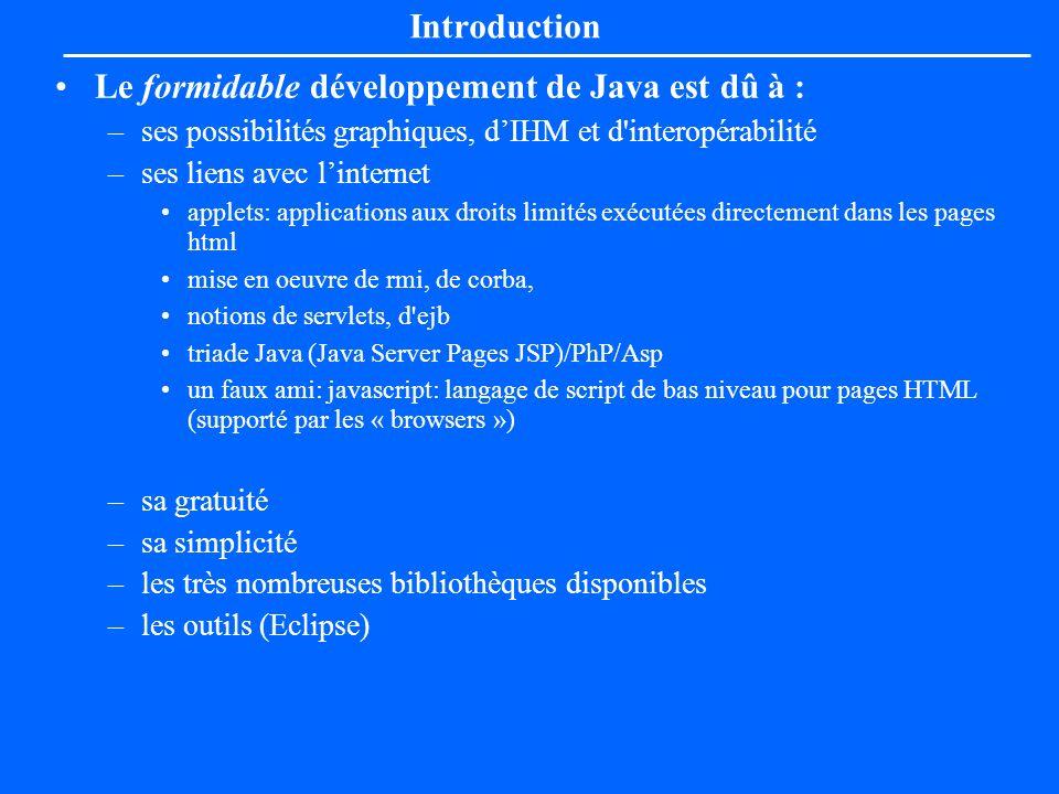 Introduction Le formidable développement de Java est dû à : –ses possibilités graphiques, dIHM et d'interopérabilité –ses liens avec linternet applets