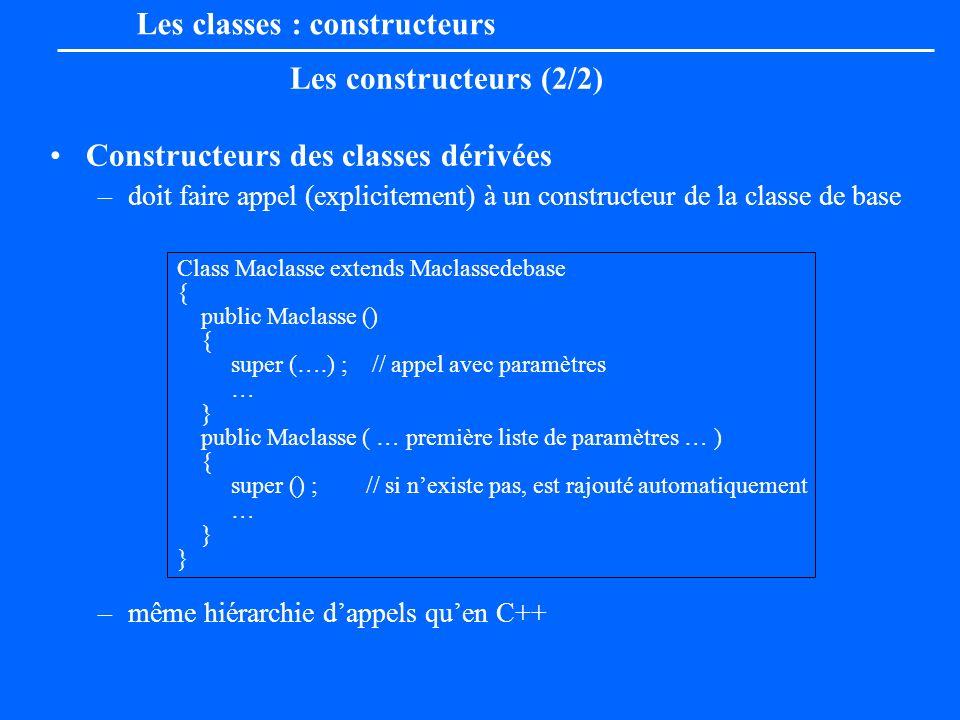 Les classes : constructeurs Les constructeurs (2/2) Constructeurs des classes dérivées –doit faire appel (explicitement) à un constructeur de la class