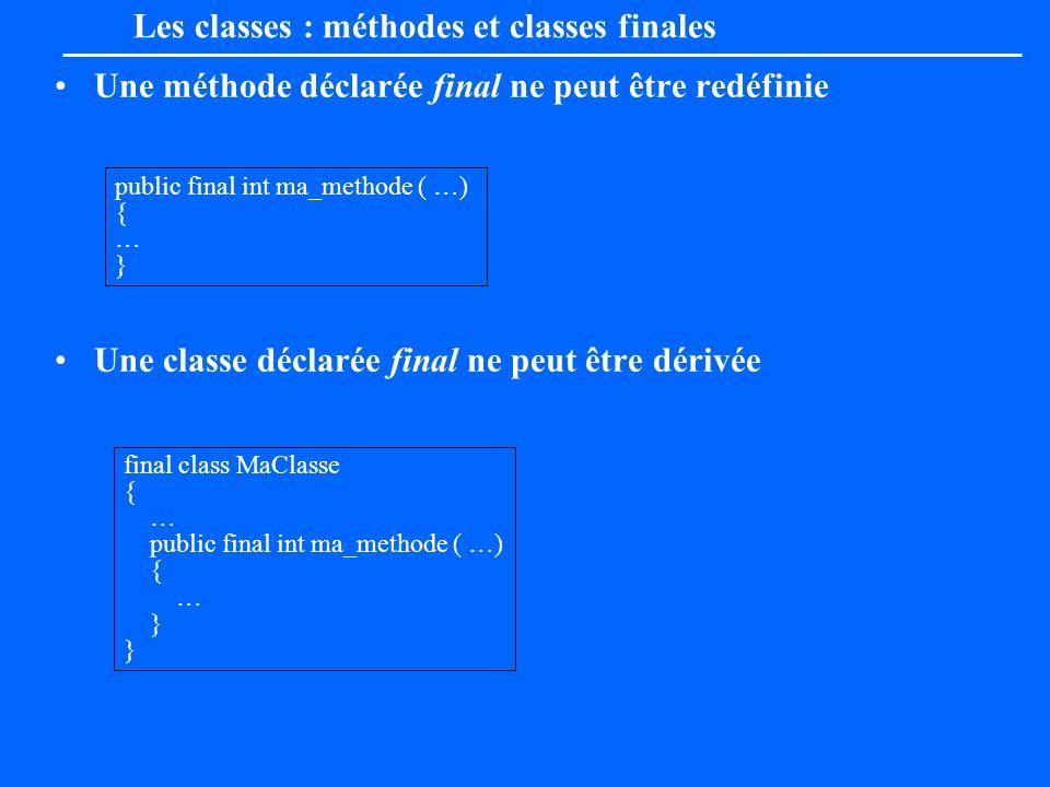 Une méthode déclarée final ne peut être redéfinie Une classe déclarée final ne peut être dérivée final class MaClasse { … public final int ma_methode