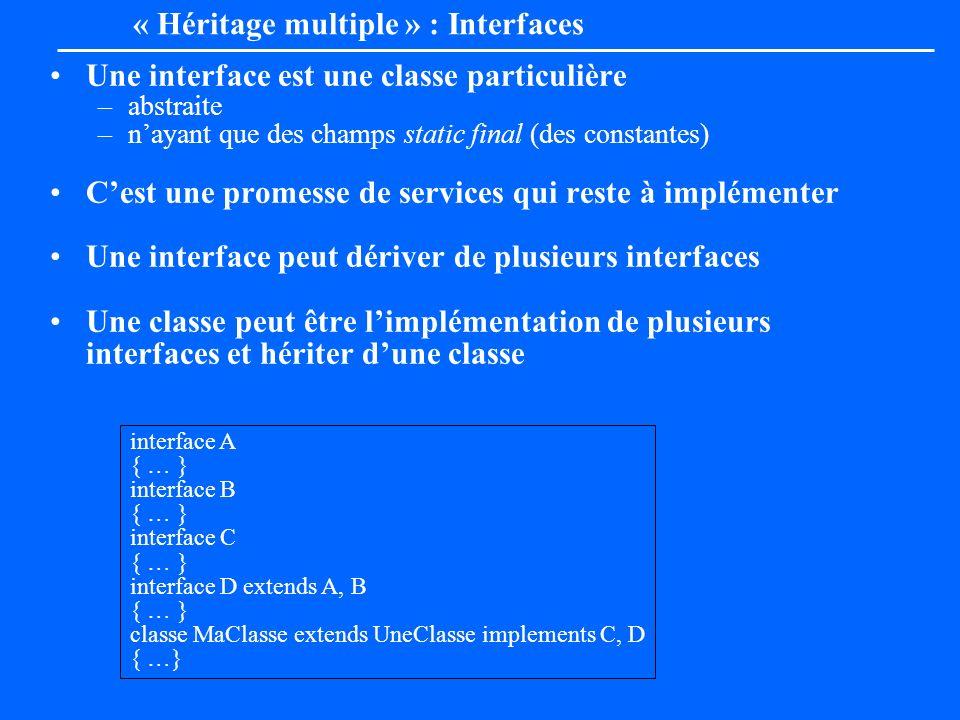 Une interface est une classe particulière –abstraite –nayant que des champs static final (des constantes) Cest une promesse de services qui reste à im