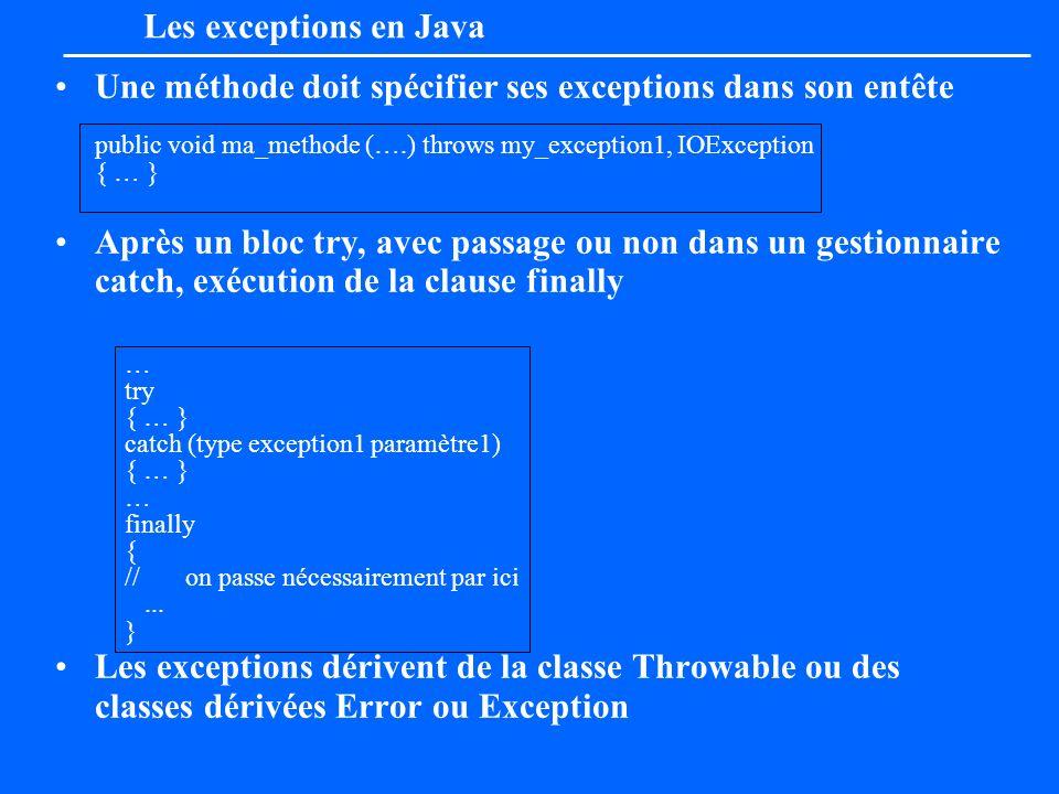 Une méthode doit spécifier ses exceptions dans son entête public void ma_methode (….) throws my_exception1, IOException { … } Après un bloc try, avec