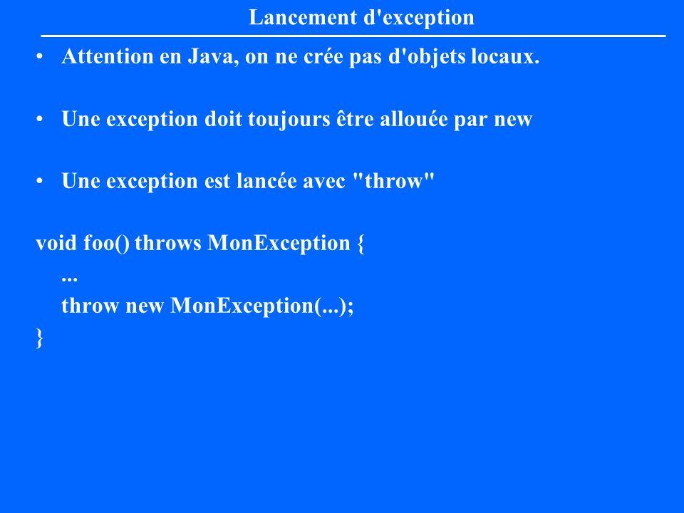 Lancement d'exception Attention en Java, on ne crée pas d'objets locaux. Une exception doit toujours être allouée par new Une exception est lancée ave