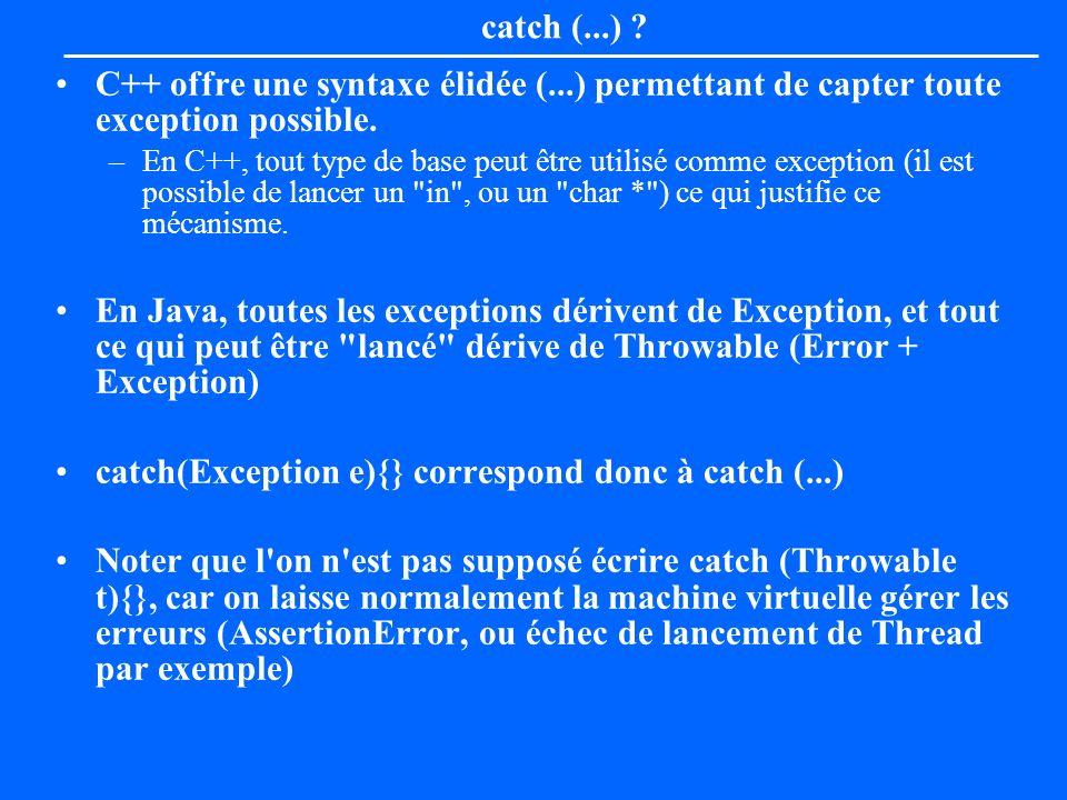 catch (...) ? C++ offre une syntaxe élidée (...) permettant de capter toute exception possible. –En C++, tout type de base peut être utilisé comme exc