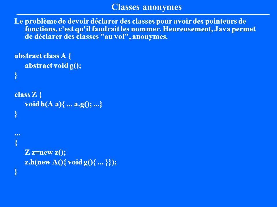 Classes anonymes Le problème de devoir déclarer des classes pour avoir des pointeurs de fonctions, c'est qu'il faudrait les nommer. Heureusement, Java