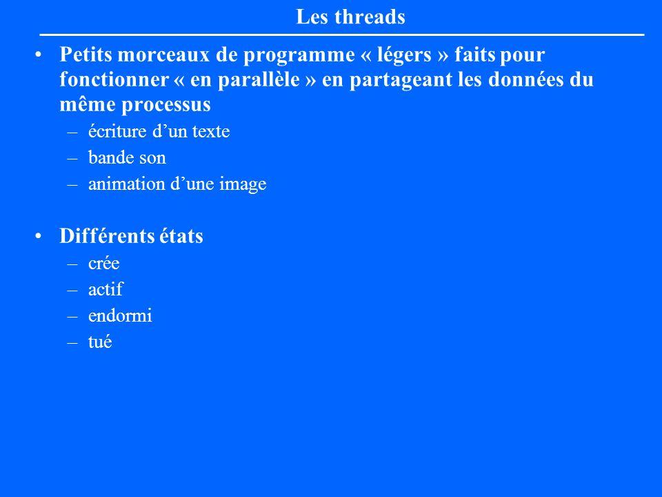 Les threads Petits morceaux de programme « légers » faits pour fonctionner « en parallèle » en partageant les données du même processus –écriture dun