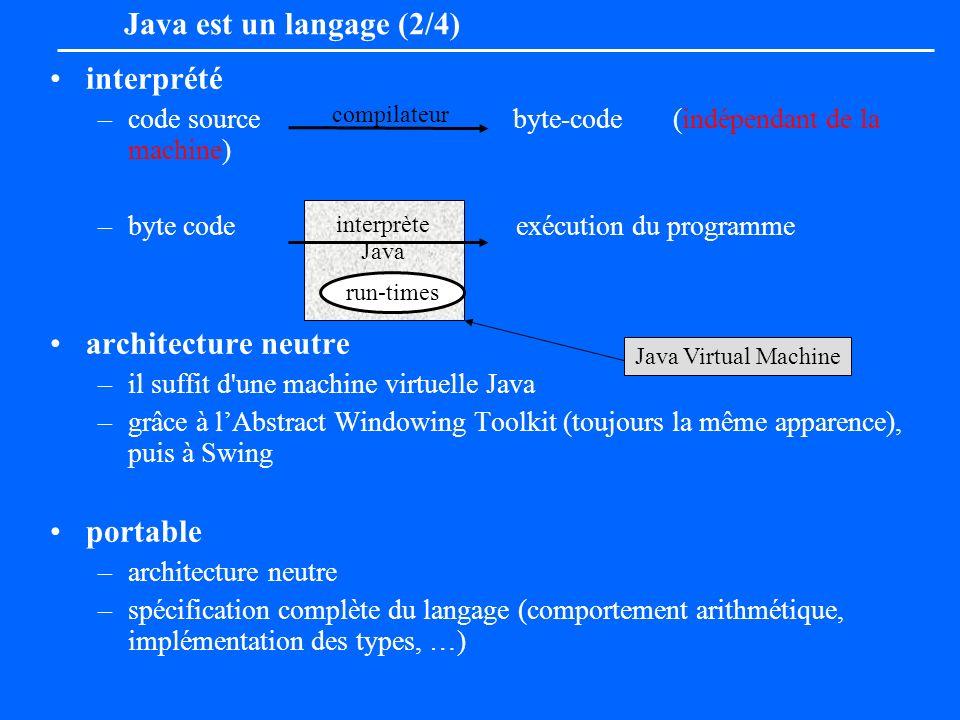 Java est un langage (2/4) interprété –code source byte-code (indépendant de la machine) –byte code exécution du programme architecture neutre –il suff