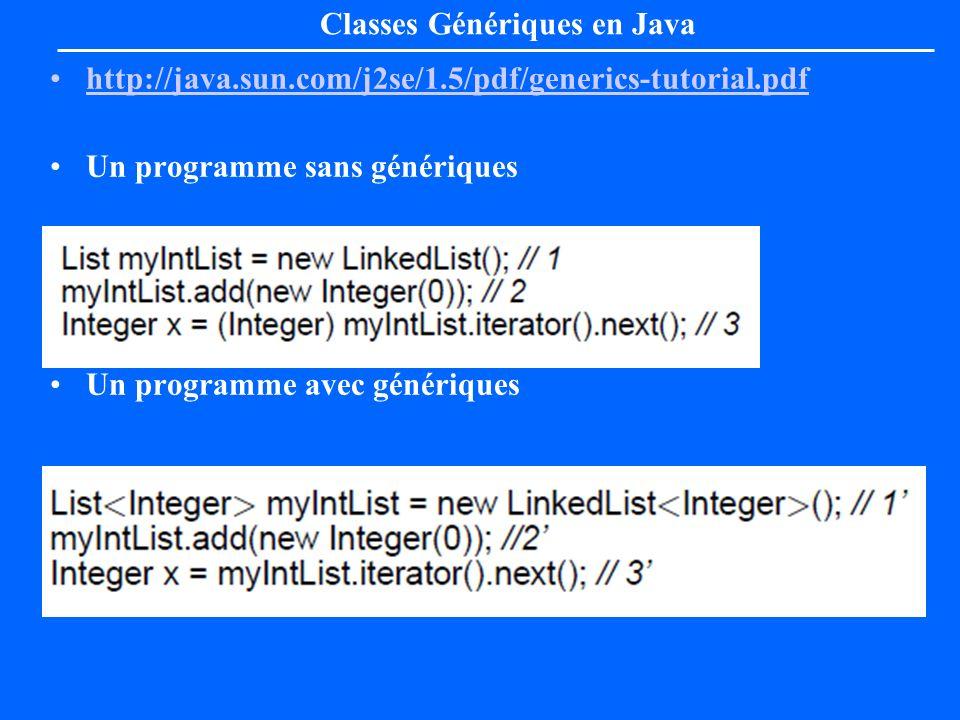 Classes Génériques en Java http://java.sun.com/j2se/1.5/pdf/generics-tutorial.pdf Un programme sans génériques Un programme avec génériques