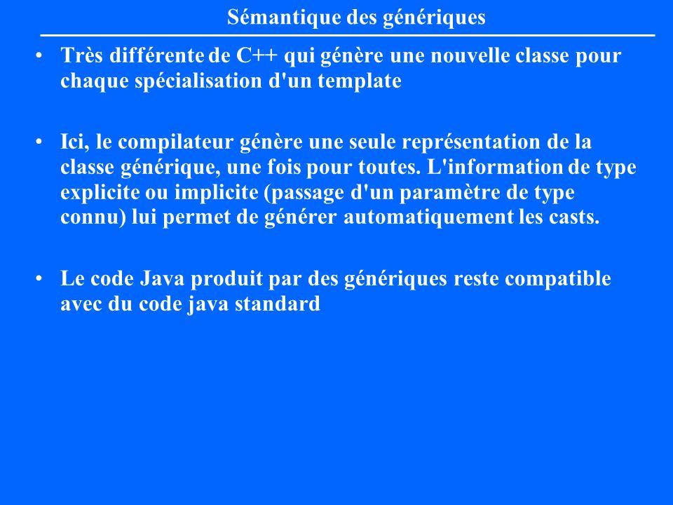 Sémantique des génériques Très différente de C++ qui génère une nouvelle classe pour chaque spécialisation d'un template Ici, le compilateur génère un
