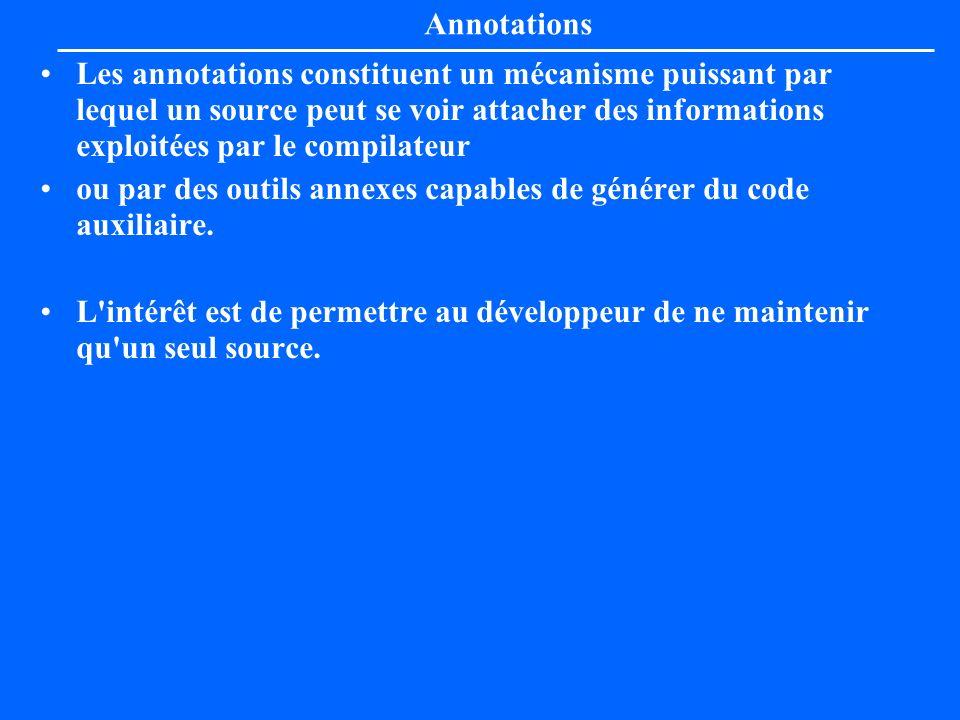 Les annotations constituent un mécanisme puissant par lequel un source peut se voir attacher des informations exploitées par le compilateur ou par des
