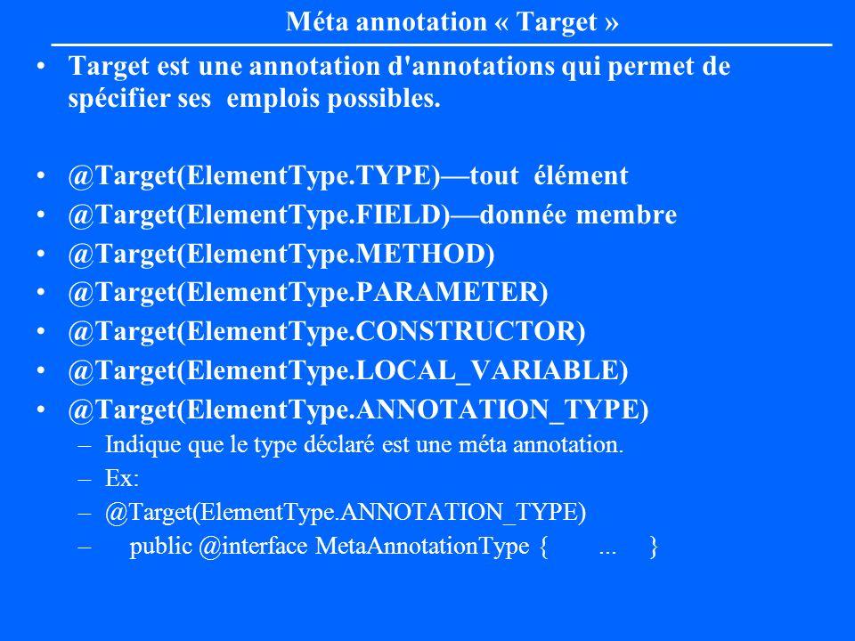 Méta annotation « Target » Target est une annotation d'annotations qui permet de spécifier ses emplois possibles. @Target(ElementType.TYPE)tout élémen