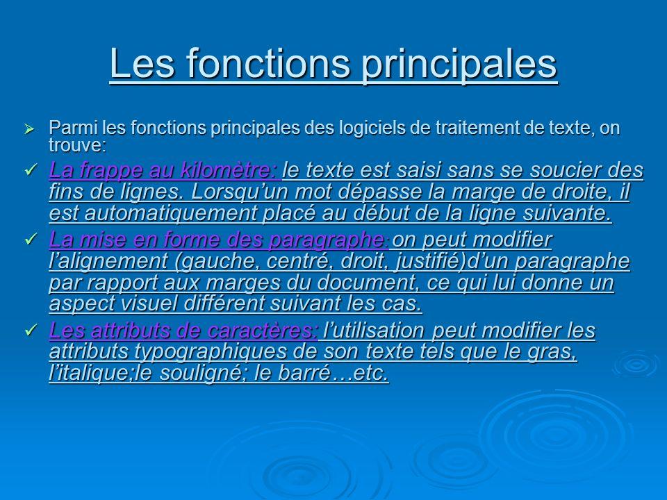 Les fonctions principales Parmi les fonctions principales des logiciels de traitement de texte, on trouve: Parmi les fonctions principales des logicie