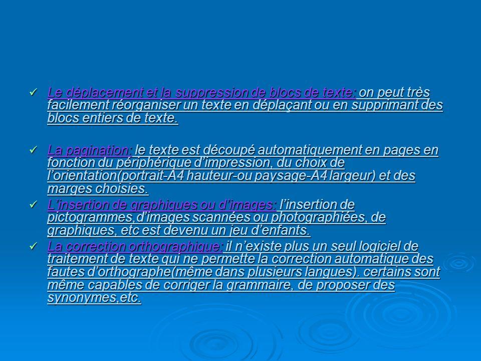 Le déplacement et la suppression de blocs de texte: on peut très facilement réorganiser un texte en déplaçant ou en supprimant des blocs entiers de te