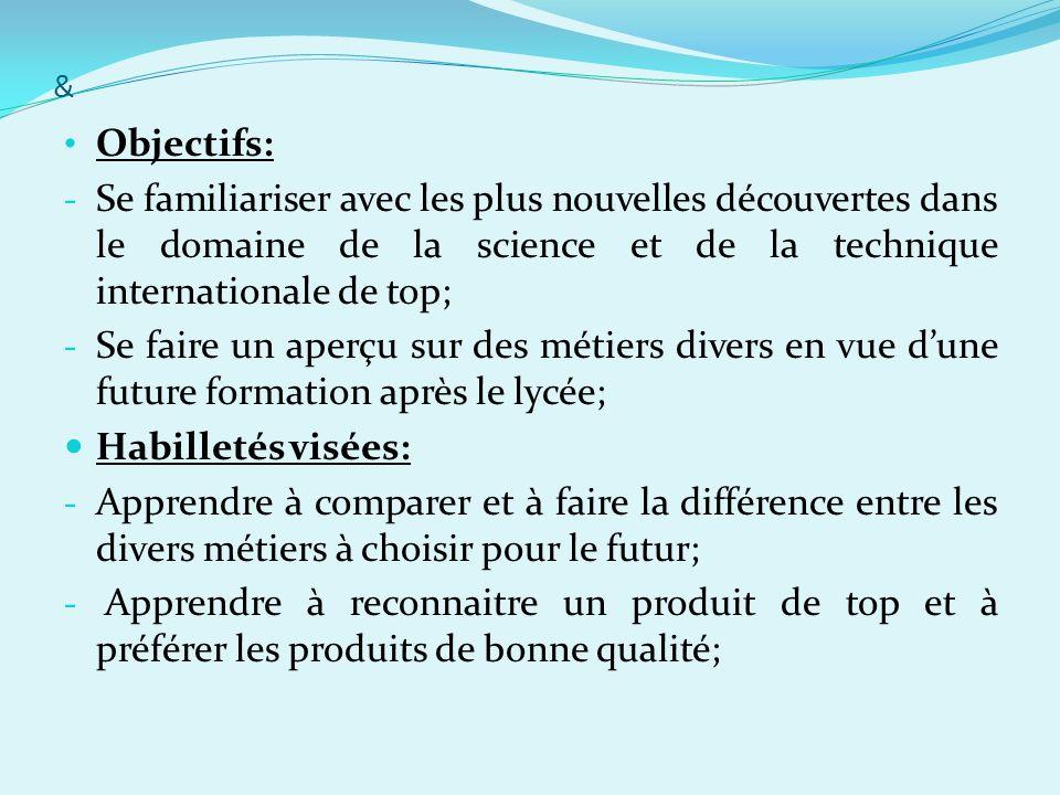 & Objectifs: - Se familiariser avec les plus nouvelles découvertes dans le domaine de la science et de la technique internationale de top; - Se faire