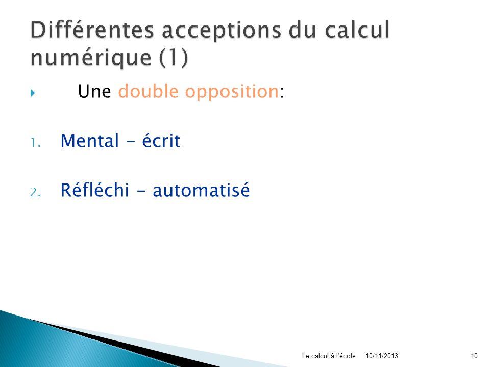 Une double opposition: 1. Mental - écrit 2. Réfléchi - automatisé 10/11/2013Le calcul à l'école10