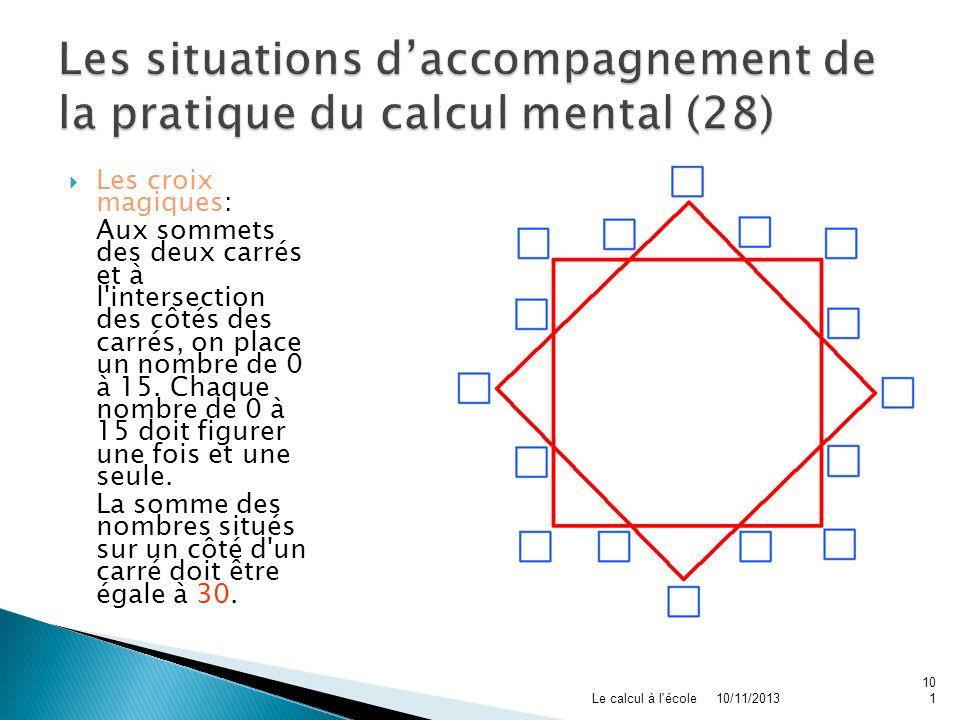Les croix magiques: Aux sommets des deux carrés et à l'intersection des côtés des carrés, on place un nombre de 0 à 15. Chaque nombre de 0 à 15 doit f