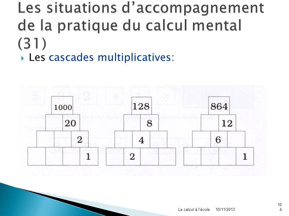 Les cascades multiplicatives: 10/11/2013Le calcul à l'école104