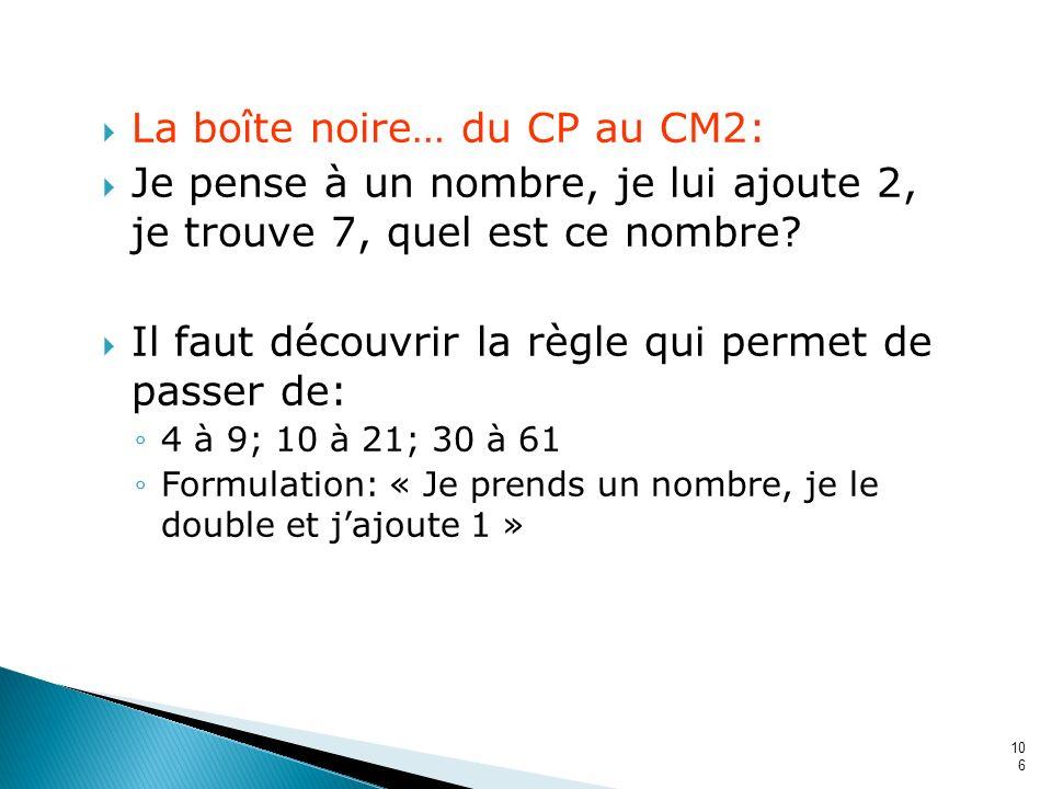 106 La boîte noire… du CP au CM2: Je pense à un nombre, je lui ajoute 2, je trouve 7, quel est ce nombre? Il faut découvrir la règle qui permet de pas