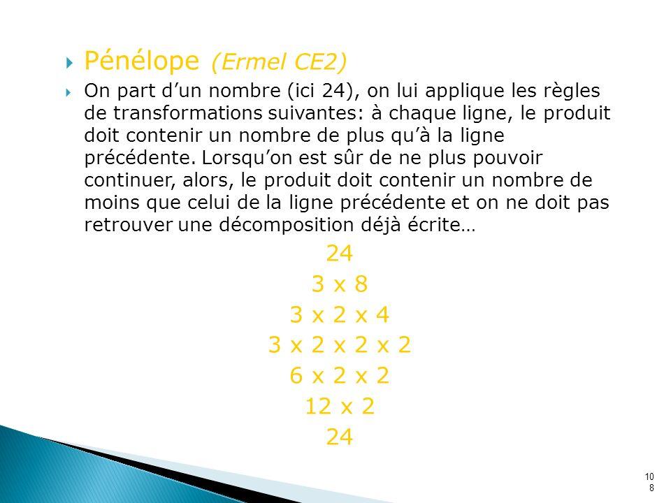 108 Pénélope (Ermel CE2) On part dun nombre (ici 24), on lui applique les règles de transformations suivantes: à chaque ligne, le produit doit conteni