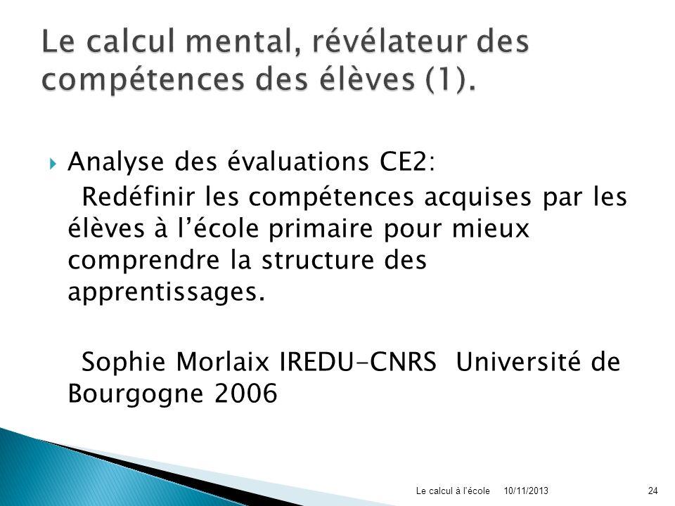 Analyse des évaluations CE2: Redéfinir les compétences acquises par les élèves à lécole primaire pour mieux comprendre la structure des apprentissages