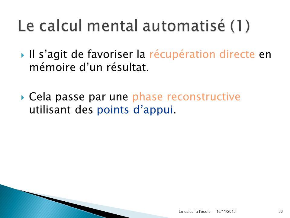 Il sagit de favoriser la récupération directe en mémoire dun résultat. Cela passe par une phase reconstructive utilisant des points dappui. 10/11/2013