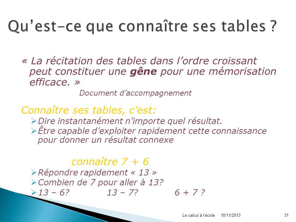 10/11/2013Le calcul à l'école31 « La récitation des tables dans lordre croissant peut constituer une gêne pour une mémorisation efficace. » Document d