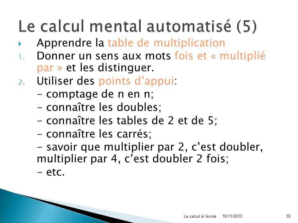 Apprendre la table de multiplication 1. Donner un sens aux mots fois et « multiplié par » et les distinguer. 2. Utiliser des points dappui: - comptage