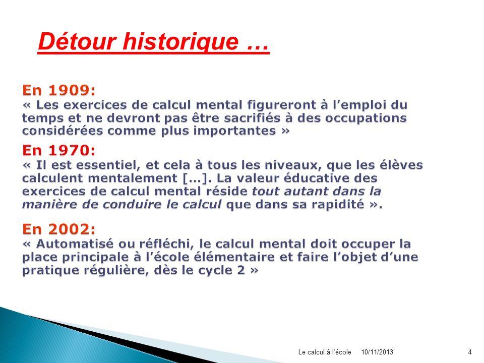10/11/2013Le calcul à l'école4 Détour historique …