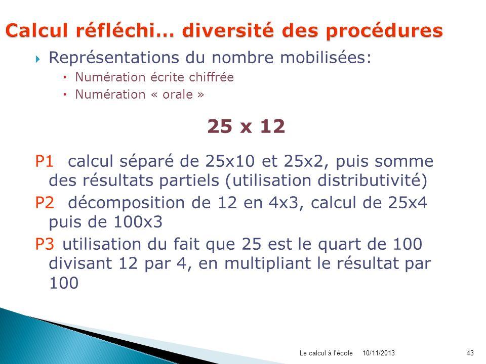10/11/2013Le calcul à l'école43 Représentations du nombre mobilisées: Numération écrite chiffrée Numération « orale » 25 x 12 P1: calcul séparé de 25x