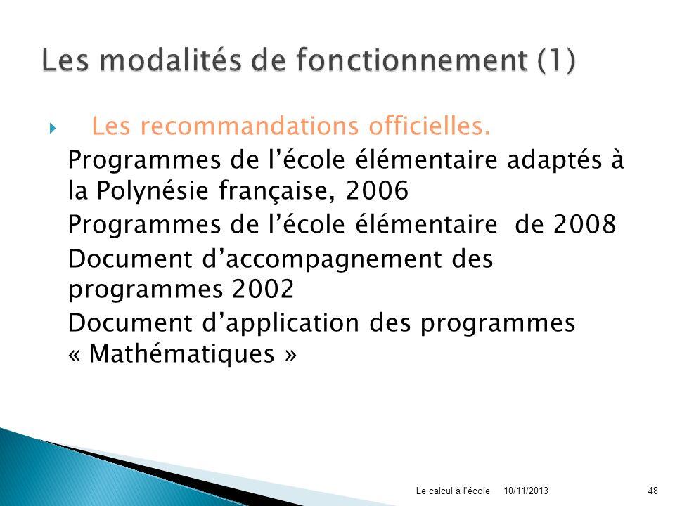 Les recommandations officielles. Programmes de lécole élémentaire adaptés à la Polynésie française, 2006 Programmes de lécole élémentaire de 2008 Docu