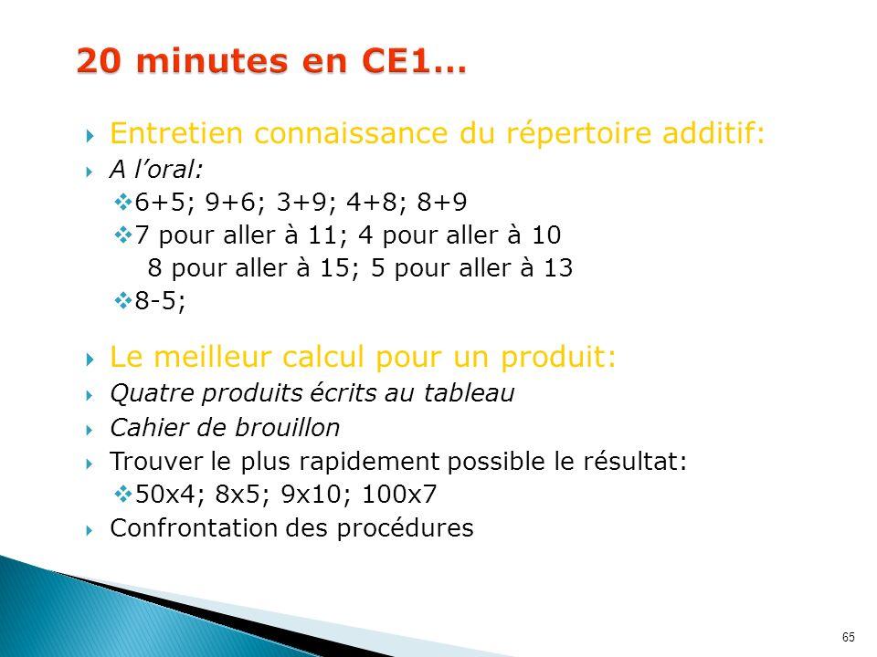 65 Entretien connaissance du répertoire additif: A loral: 6+5; 9+6; 3+9; 4+8; 8+9 7 pour aller à 11; 4 pour aller à 10 8 pour aller à 15; 5 pour aller