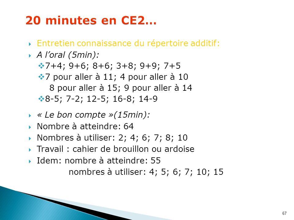 67 Entretien connaissance du répertoire additif: A loral (5min): 7+4; 9+6; 8+6; 3+8; 9+9; 7+5 7 pour aller à 11; 4 pour aller à 10 8 pour aller à 15;