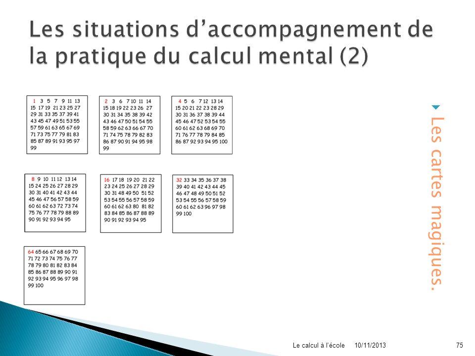 Les cartes magiques. 10/11/2013Le calcul à l'école75