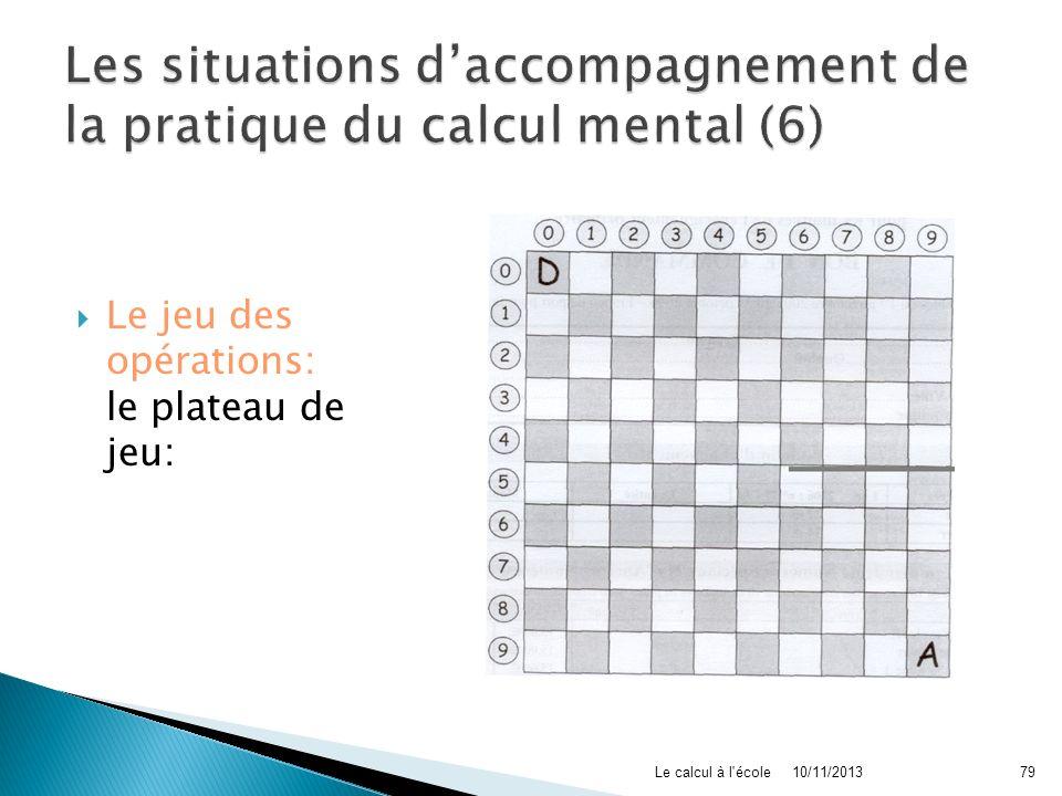 Le jeu des opérations: le plateau de jeu: 10/11/2013Le calcul à l'école79