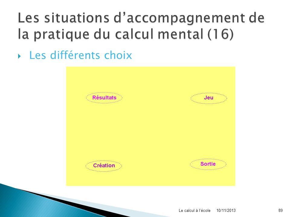 Les différents choix 10/11/2013Le calcul à l'école89