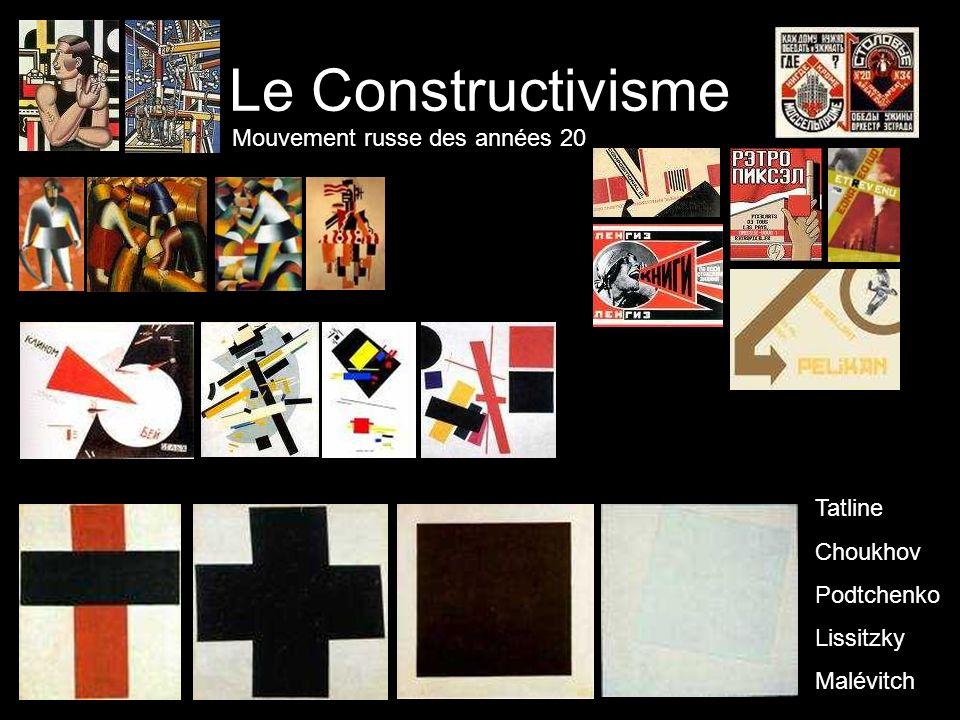 Le Constructivisme Mouvement russe des années 20 Tatline Choukhov Podtchenko Lissitzky Malévitch