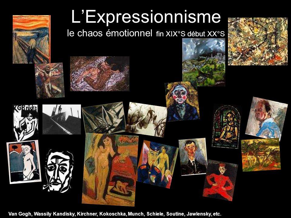 LExpressionnisme le chaos émotionnel fin XIX°S début XX°S Van Gogh, Wassily Kandisky, Kirchner, Kokoschka, Munch, Schiele, Soutine, Jawlensky, etc.