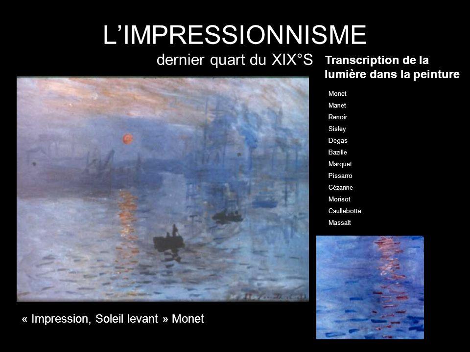 LIMPRESSIONNISME dernier quart du XIX°S Transcription de la lumière dans la peinture « Impression, Soleil levant » Monet Monet Manet Renoir Sisley Deg