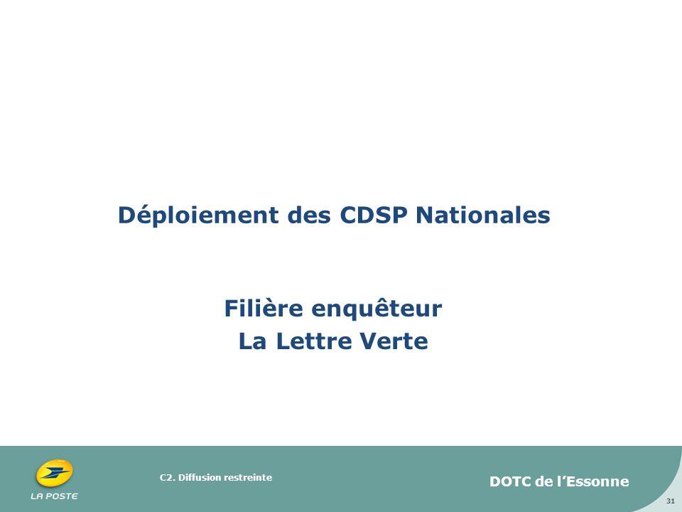 C2. Diffusion restreinte Déploiement des CDSP Nationales Filière enquêteur La Lettre Verte 31 DOTC de lEssonne