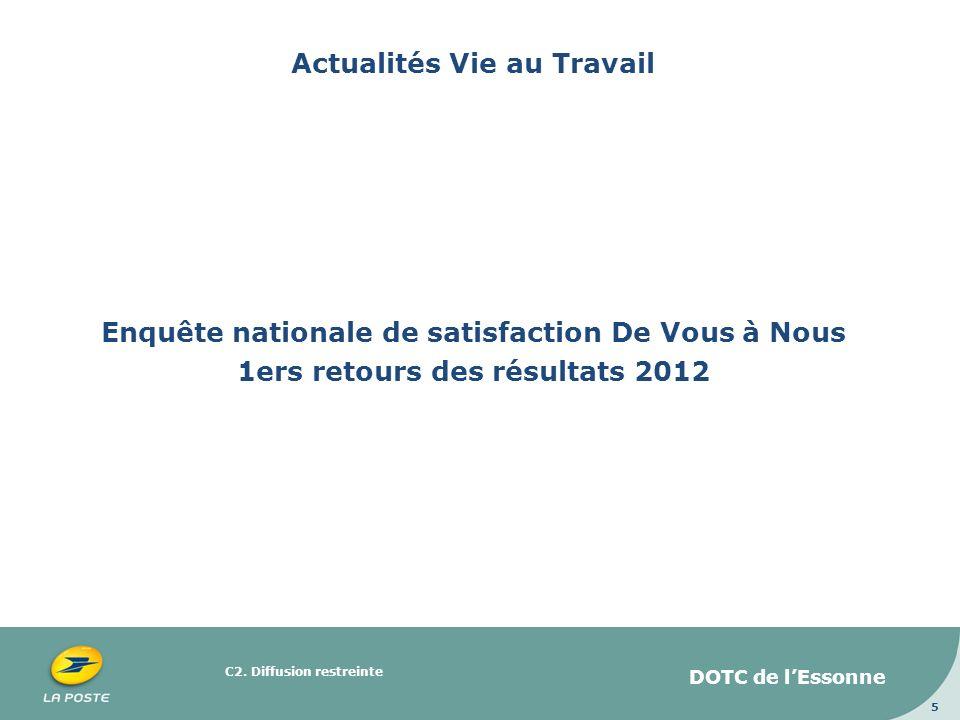 C2. Diffusion restreinte 5 Actualités Vie au Travail Enquête nationale de satisfaction De Vous à Nous 1ers retours des résultats 2012 DOTC de lEssonne