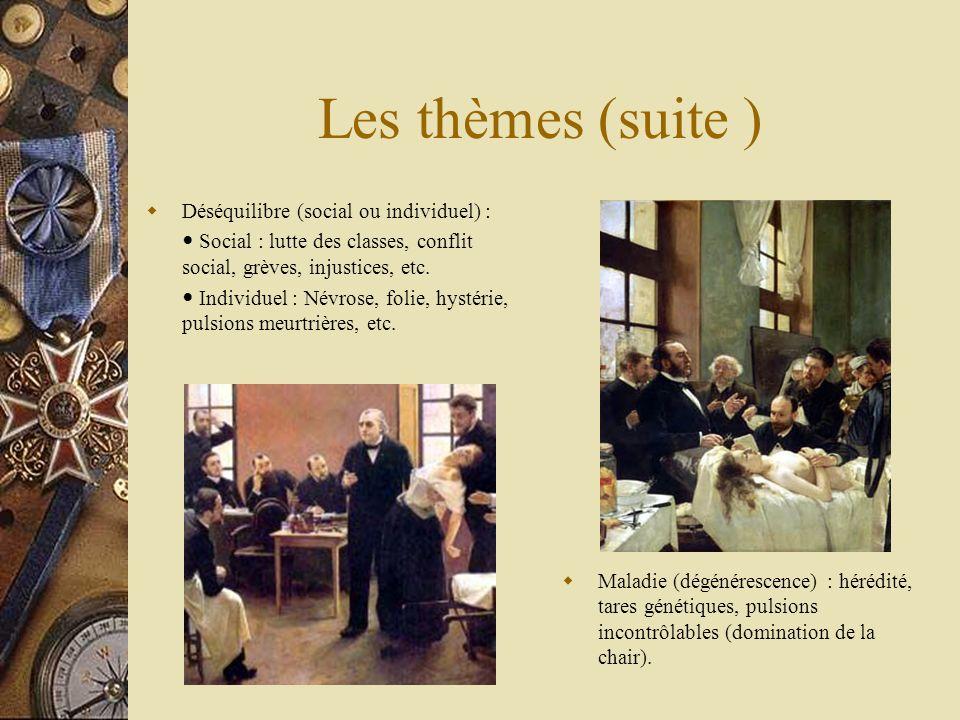 Les thèmes (suite ) Déséquilibre (social ou individuel) : Social : lutte des classes, conflit social, grèves, injustices, etc. Individuel : Névrose, f