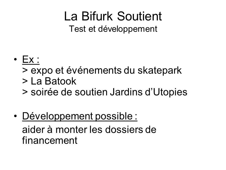La Bifurk Soutient Test et développement Ex : > expo et événements du skatepark > La Batook > soirée de soutien Jardins dUtopies Développement possible : aider à monter les dossiers de financement