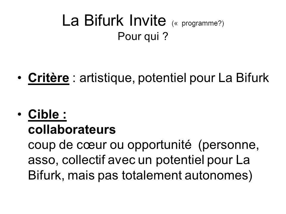 La Bifurk Invite (« programme ) Pour qui .