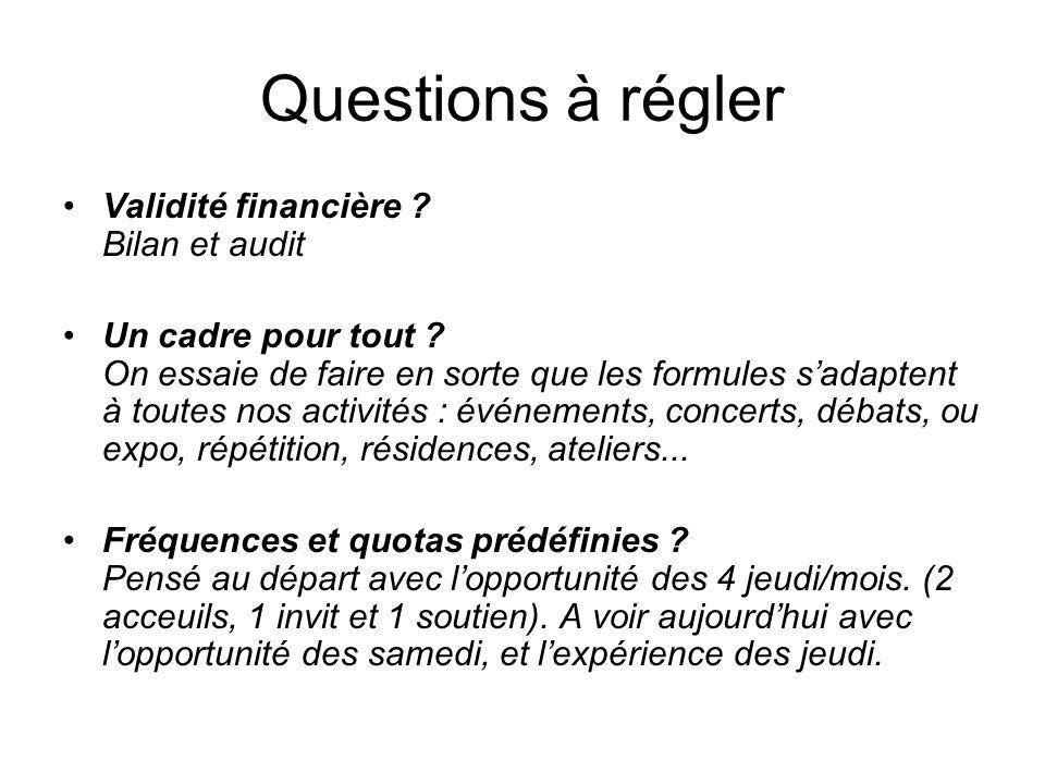 Questions à régler Validité financière . Bilan et audit Un cadre pour tout .