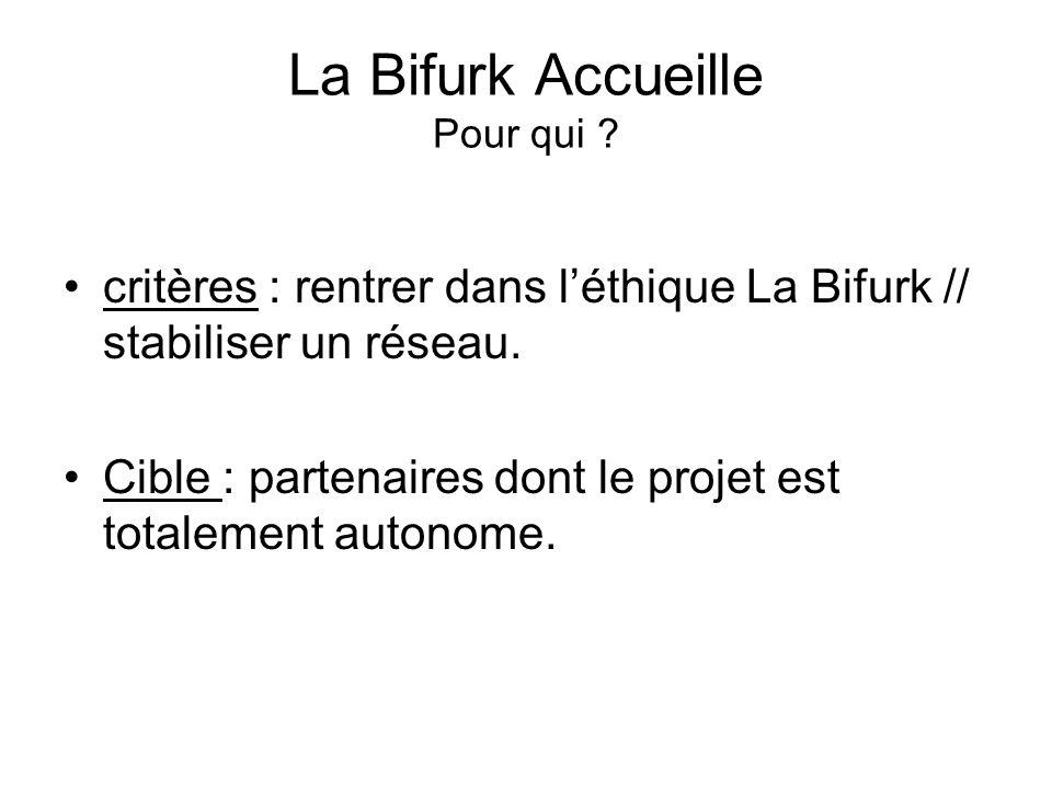 La Bifurk Accueille Pour qui . critères : rentrer dans léthique La Bifurk // stabiliser un réseau.