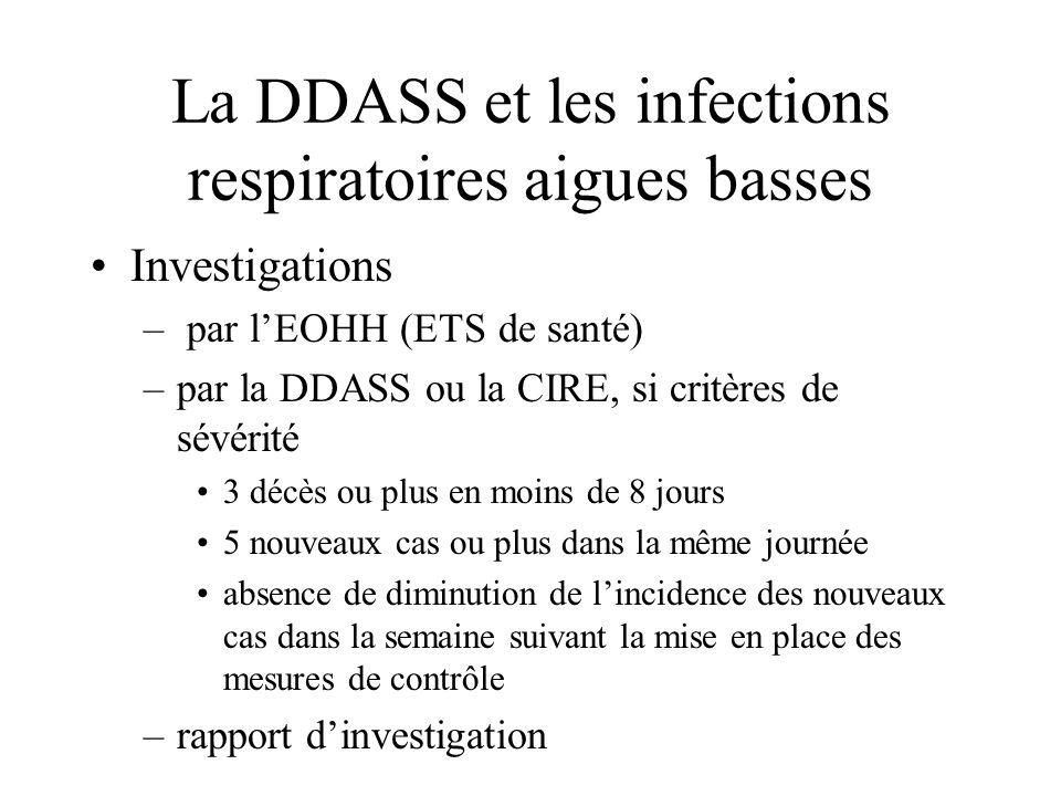 La DDASS et les infections respiratoires aigues basses Investigations – par lEOHH (ETS de santé) –par la DDASS ou la CIRE, si critères de sévérité 3 d