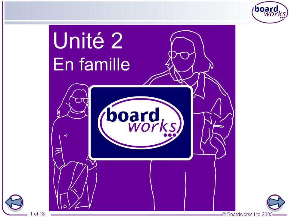 © Boardworks Ltd 2005 2 of 18 Table des matières En famille Part 1 Ma famille Subject pronouns Present tense of avoir, sappeler and être