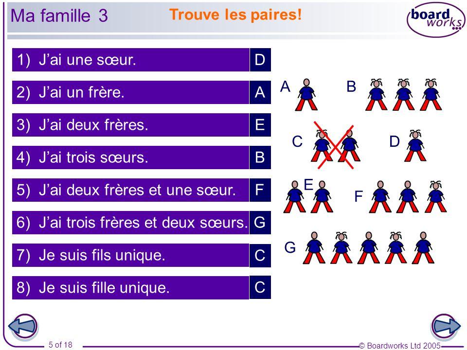 © Boardworks Ltd 2005 6 of 18 Jai… / Je suis… / Je nai pas de… Ma famille 4
