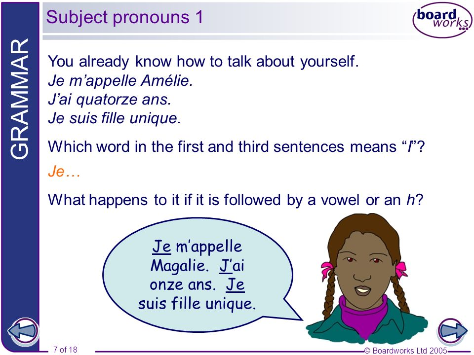 © Boardworks Ltd 2005 8 of 18 GRAMMAR Now fill in the word for I in each of the following sentences.