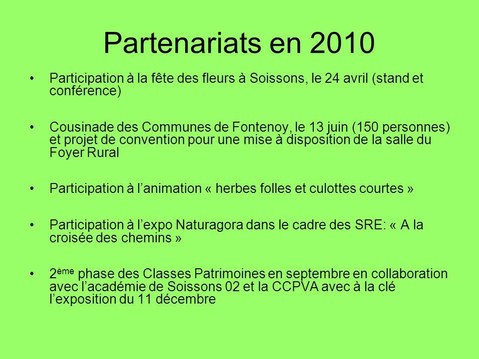 Partenariats en 2010 Participation à la fête des fleurs à Soissons, le 24 avril (stand et conférence) Cousinade des Communes de Fontenoy, le 13 juin (