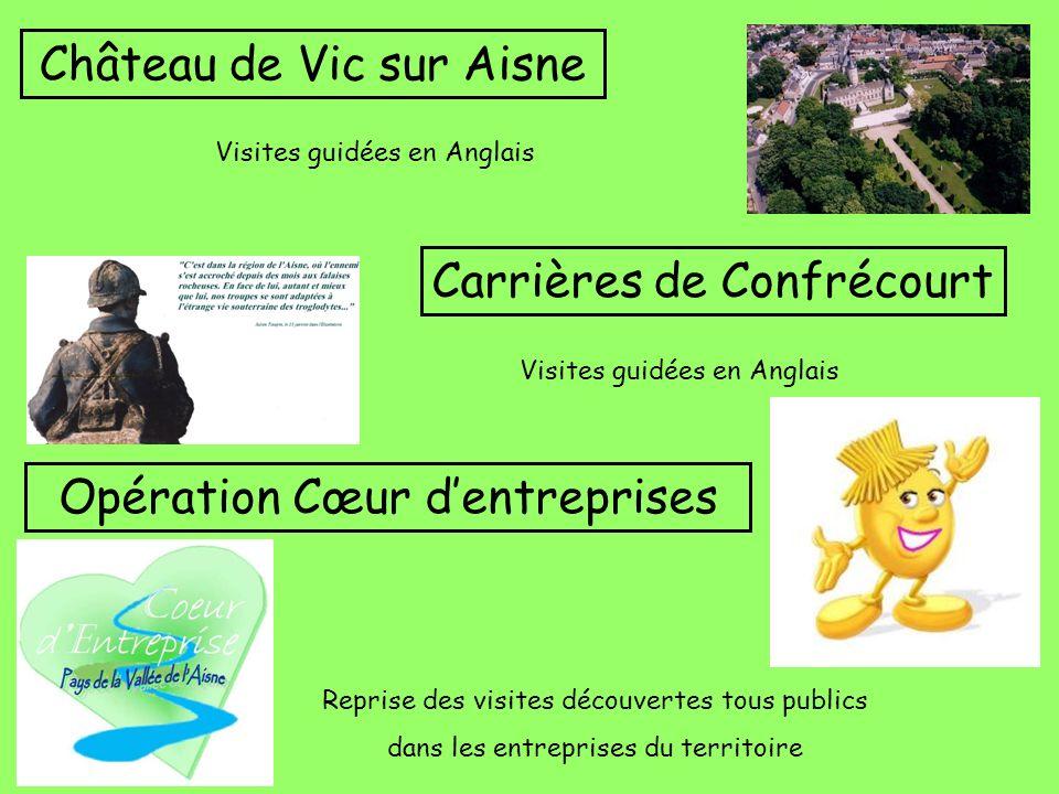 Château de Vic sur Aisne Visites guidées en Anglais Carrières de Confrécourt Visites guidées en Anglais Opération Cœur dentreprises Reprise des visite